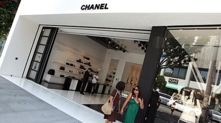 Chanel's new store on Robertson Boulevard is decidedly upscale, with a black-and-white motif that recalls the classic Chanel No. 5 perfume packaging.