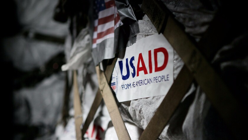 Relief supplies from the United States Agency for International Development are packed in a U.S. plane in 2008 at the Yangon International airport.