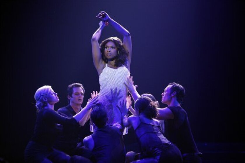 """This publicity image released by NBC shows actress Jennifer Hudson as Veronica Moore in a scene from the second season of """"Smash."""" """"Smash,"""" set in the world of New York theater, stars Debra Messing, Christian Borle and Angelica Huston. Guest stars this season include Jennifer Hudson. (AP Photo/NBC, Will Hart)"""