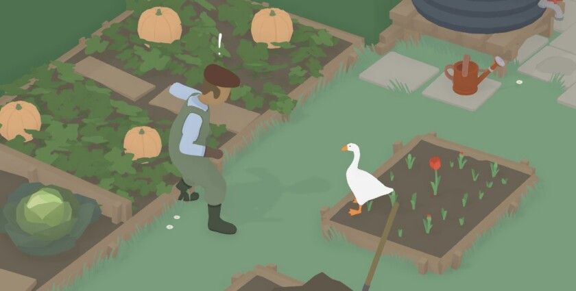 A screenshot of Untitled Goose Game, in which you play a goose that annoys people in an English village.