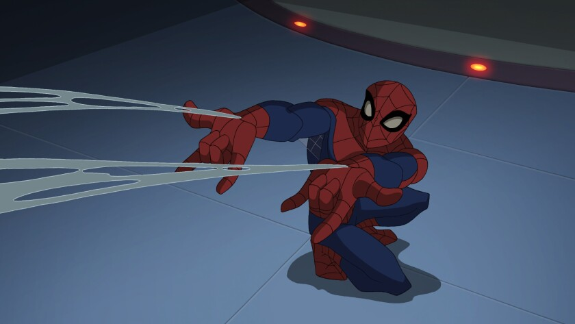 """Spider-Man shoots webs in an episode of """"The Spectacular Spider-Man,"""" a TV series that ran in 2008-09."""