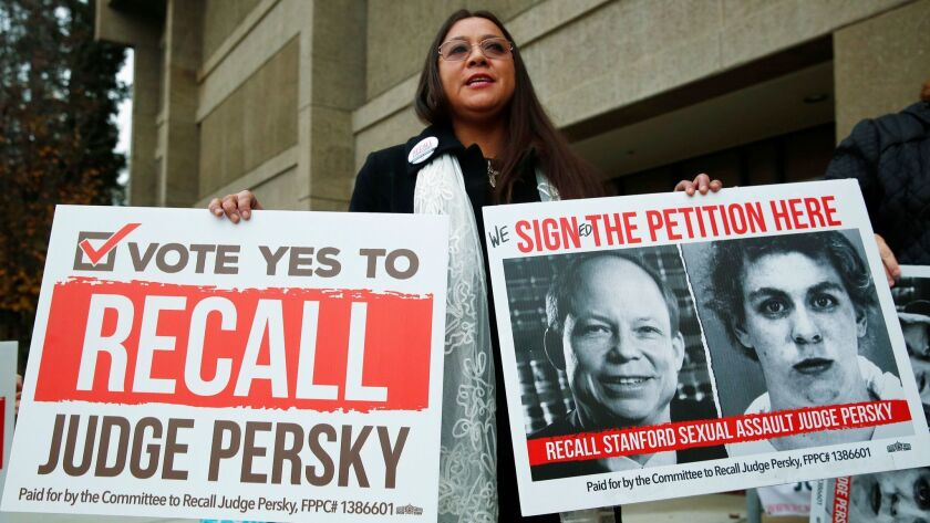 Ana Gabriela Hermosillo joins in a protest calling for the recall of Santa Clara County Judge Aaron Persky in San Jose on Jan. 11.