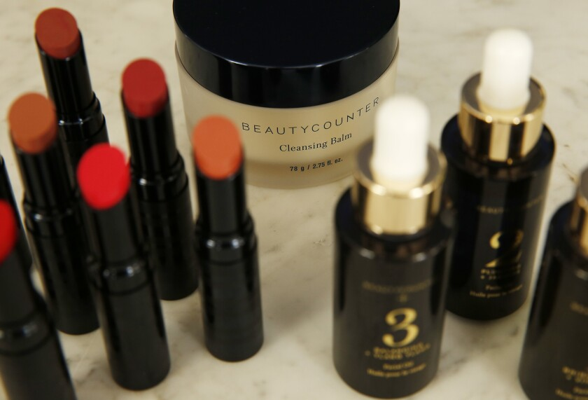 SANTA MONICA, CA – May 8, 2018: Color Intense Lipstick, Cleansing Balm, and Facial Oils, left to