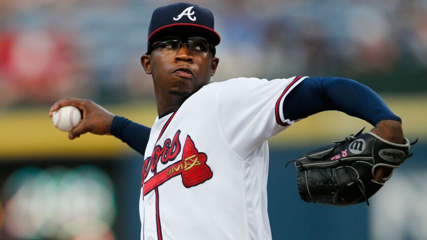 Atlanta Braves starting pitcher Tyrell Jenkins delivers in the first inning of a baseball game against the Philadelphia Phillies on Friday, July 29, 2016, in Atlanta. (AP Photo/John Bazemore)