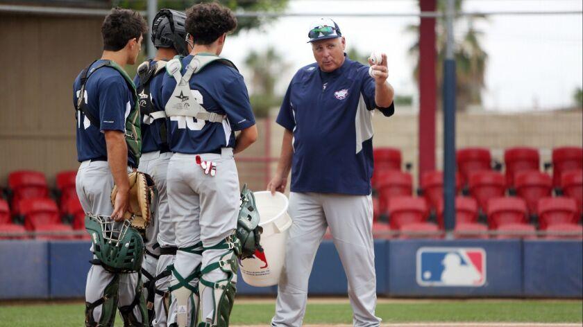 LOS ANGELES, CA-JUNE 22, 2019: Mike Scioscia coaches baseball players at the Major League Baseball Y