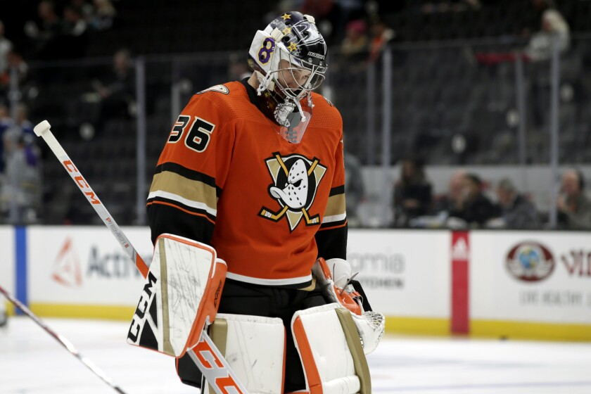 Ducks goaltender John Gibson wears his Kobe Bryant tribute mask Jan. 31.