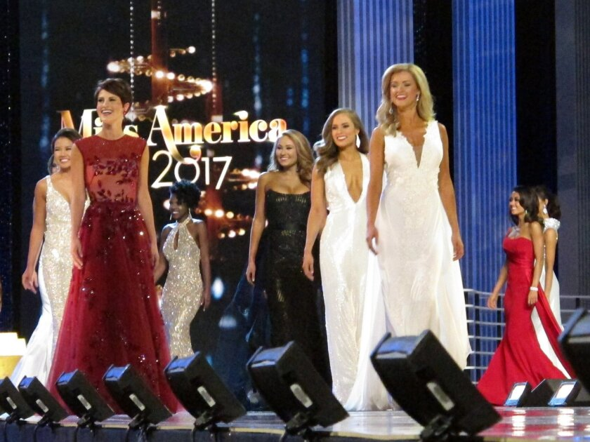 Contestants in the evening gown portion of the Miss America pageant compete on the first night of preliminary competition in Atlantic City, Tuesday, Sept. 6, 2016. Tuesday night is the first of three nights of preliminary competition lasting through Thursday. The 2017 Miss America will be crowned d