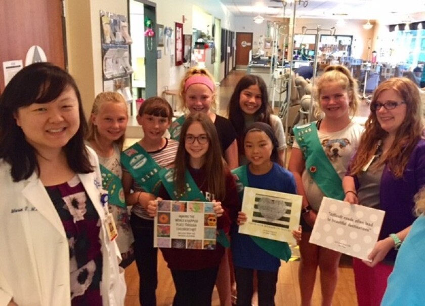 Girl Scout Troop 3148 brightens local chemo lounge - Del Mar Times