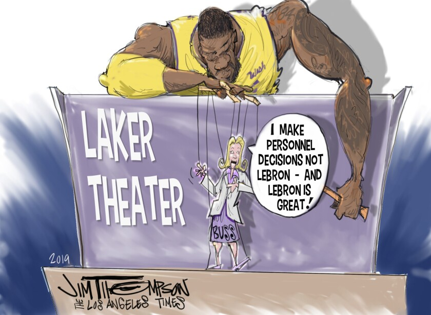 Cartoon depicting Jeannie Buss and LeBron James staring in a puppet Laker theater.