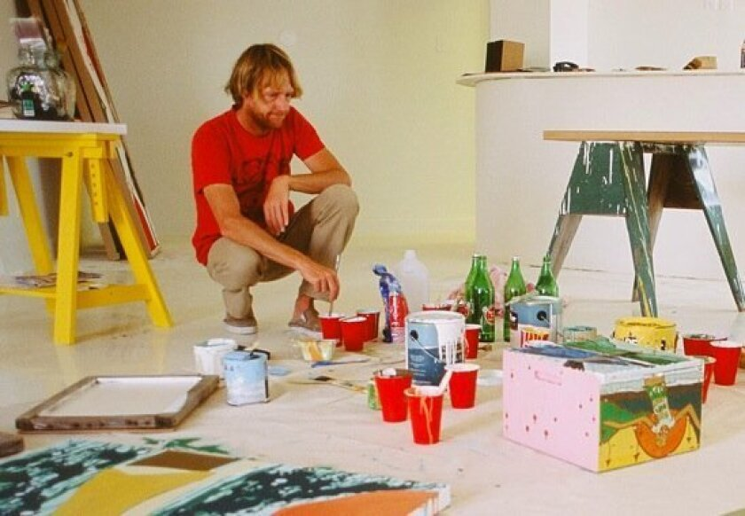 Andy working on paintings