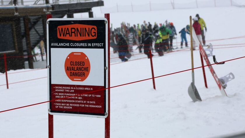 MAMMOTH MOUNTAIN SKI RESORTS CLOSED AFTER AVALANCHE