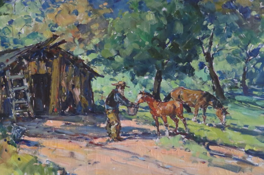 A painting by Western artist Marjorie Reed that hangs in the Valley Center History Museum.