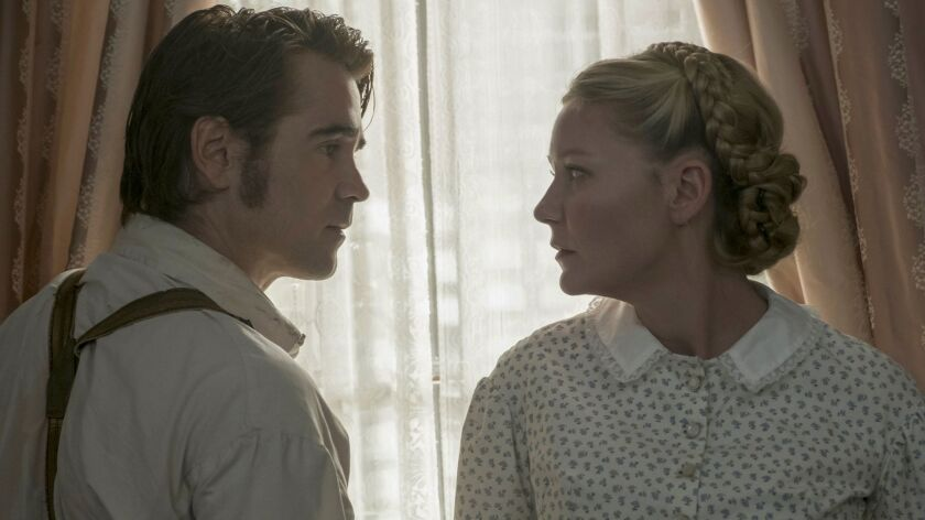 "Colin Farrell as John McBurney and Kirsten Dunst as Edwina in ""The Beguiled."""