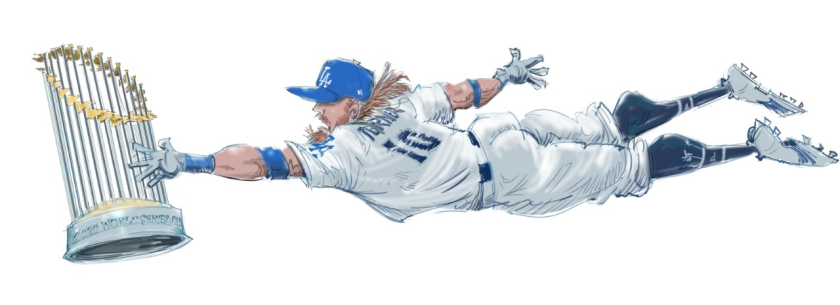 Illustration of Justin Turner reaching for the World Series Commissioner's Trophy.