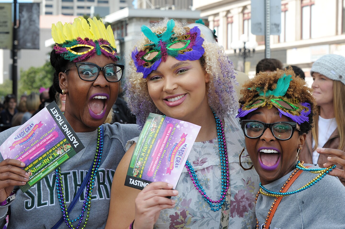 San Diego threw on some beads and celebrated New Orleans-style at the Gaslamp Mardi Gras Big Easy Bites & Booze Tour on Saturday, Feb. 22, 2020.