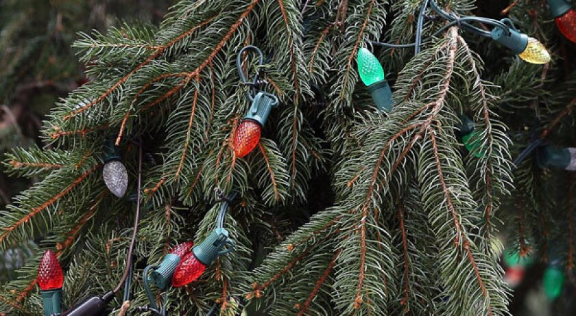 Lights adorn a Christmas tree in Rockefeller Center. In Louisiana, one woman's unusual lights display has a unsettled a neighborhood.