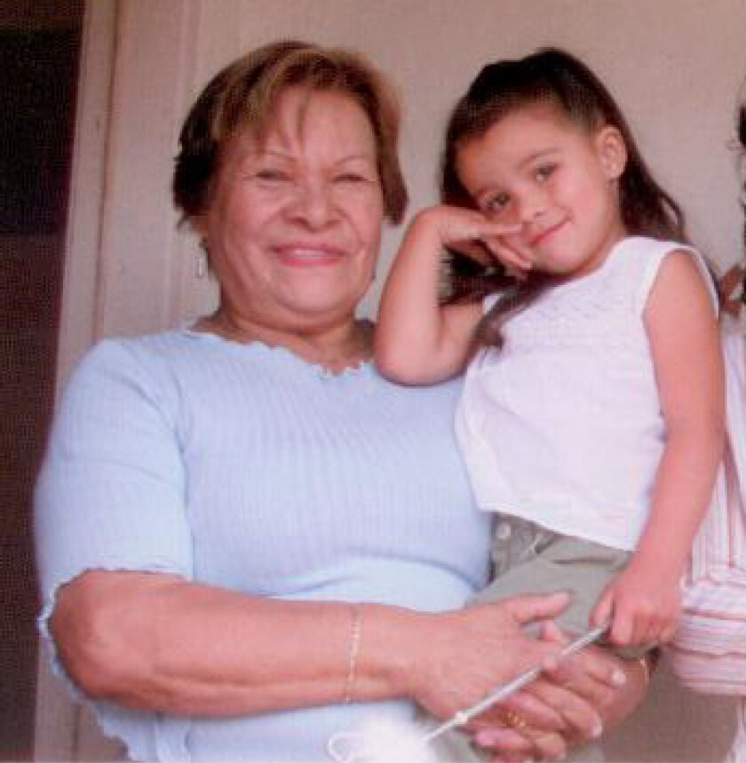 Isidra Huizar, pictured with one of her granddaughters, on a mailer for Jose Huizar's 2005 campaign.