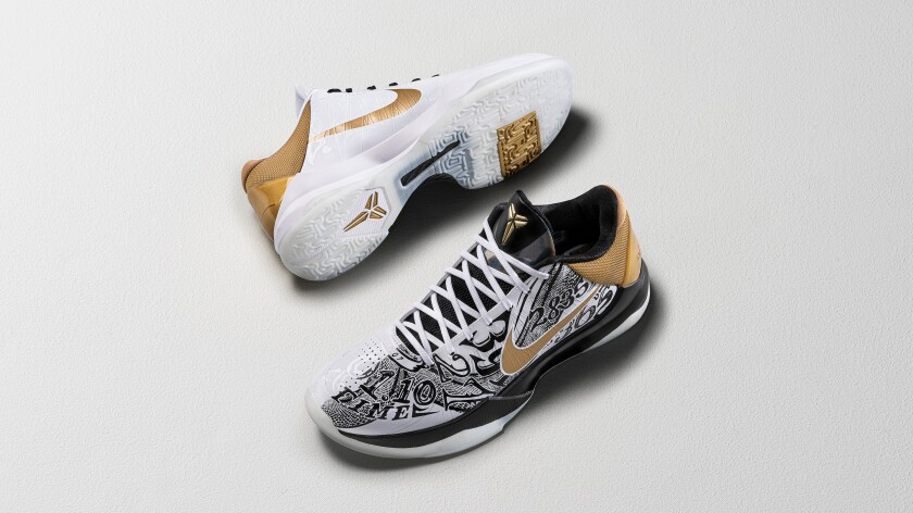 A pair of Nike Kobe V Protro Big Stage sneakers.