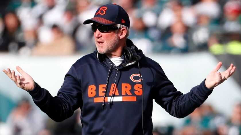 Chicago Bears coach John Fox reacts to a call during a game against the Philadelphia Eagles on Nov. 26.