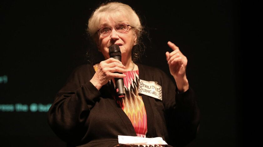 """Trudie Strobel, a survivor of Lodz Ghetto, tells her story of how she survived the Holocaust during a March 28 talk, """"Beyond Fear, Resilience, Resistance and Bravery: Stories of Trauma and Tragedies through the Holocaust,"""" at La Canada High School."""