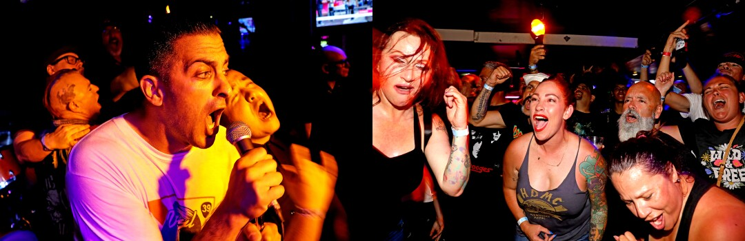 Two photos showing a man singing into a microphone and a woman in the audience moshing