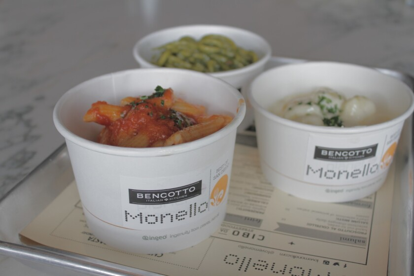 Pasta in a cup is one of the menu items offered during Monello's lunch service.