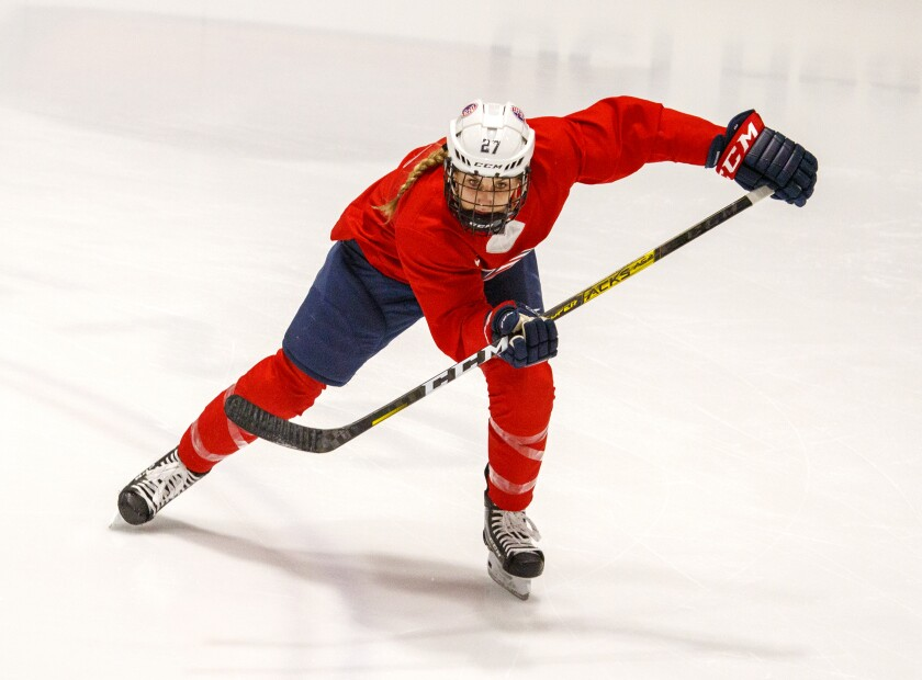 U.S. Women's hockey forward Annie Pankowski, from Laguna Hills, practices with the team as they start training camp at Great Park Ice in Irvine on Wednesday.