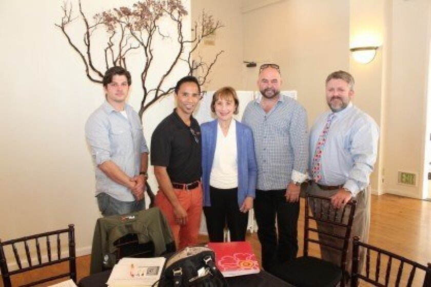 La Jolla Village Merchants Association's new board members: Corey Bailey, Billy Borja, Carol Mills, Claude-Anthony Marengo and Justin Stewart. During their first meeting, the board selected Marengo as its new president and Stewart as its new treasurer. Board member Mark Krasner (not pictured) was e