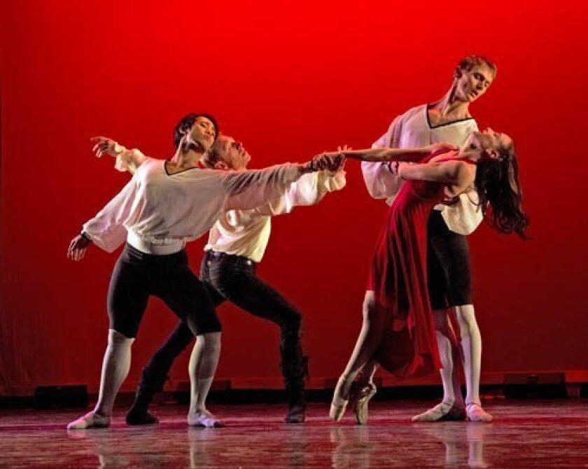 Chris Jovillar, Maxim Tchernychev, Joe Hochschild and Stephanie Maiorano in San Diego Ballet's 'Don Juan.'