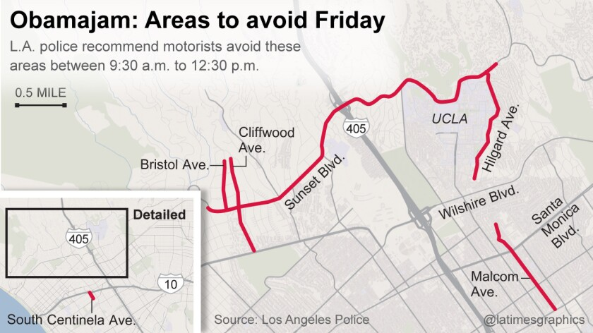 Areas to avoid Friday during President Obama's visit