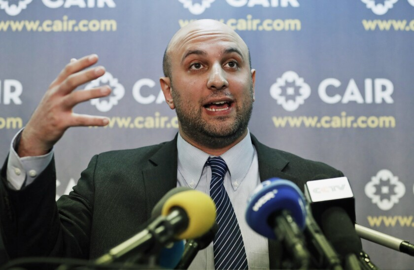 Attorney Gadeir Abbas speaks at the Council on American-Islamic Relations (CAIR) in Washington, D.C., on Jan. 30, 2017.