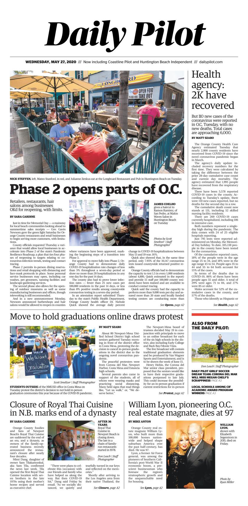 Daily Pilot e-Newspaper: Wednesday, May 27, 2020