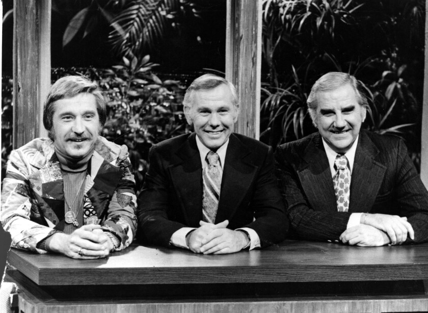 Doc Severinsen, left, Johnny Carson and Ed McMahon.