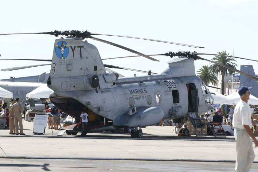 The CH-46 Sea Knight, or Battle Phrog, helicopter is being retired from the Marine fleet, replaced by the MV-22 Osprey tilt-rotor. The CH-46 has been in service since the Vietnam War.