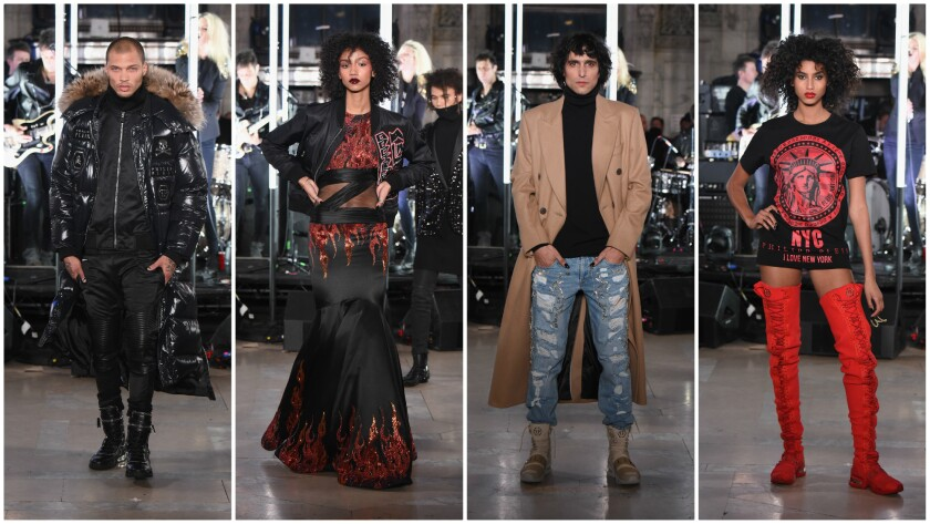 Looks from the Philipp Plein fall/winter 2017 runway collection presented at the New York Public Library on Monday during New York Fashion Week.