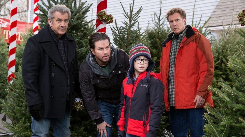 (L-R) - Mel Gibson plays Kurt, Mark Wahlberg plays Dusty, Owen Wilder Vaccaro plays Dylan, and Will