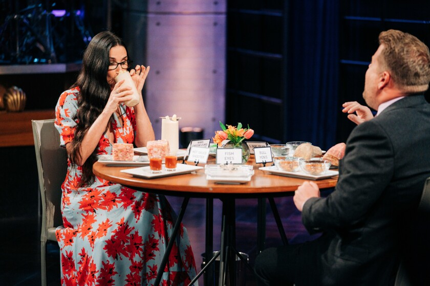 """Demi Moore samples a mayo, cheese curd and soy sauce smoothie on """"The Late Late Show With James Corden."""""""