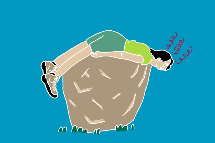 Graphic of a woman lying on a rock