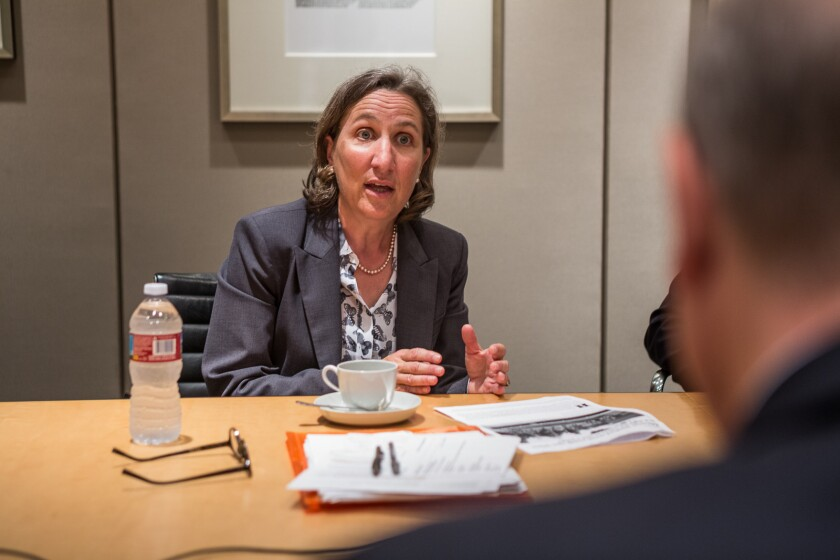 Stanford law professor Michele Dauber in an interview with the L.A. Times editorial board in June.