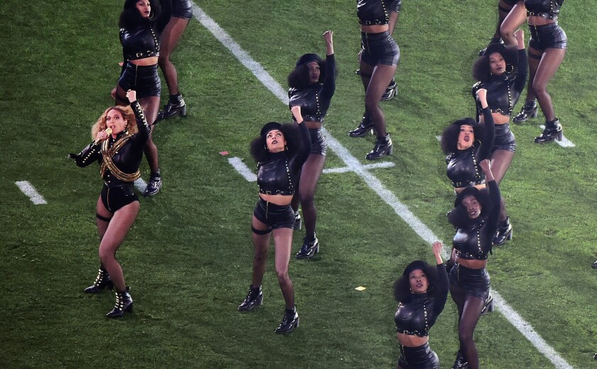 Beyonce performs during Super Bowl 50 at Levi's Stadium on Feb. 7, 2016, in Santa Clara.