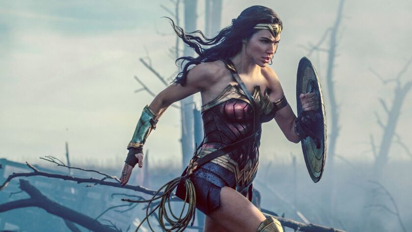 """This image released by Warner Bros. Entertainment shows Gal Gadot in a scene from """"Wonder Woman."""" (C"""