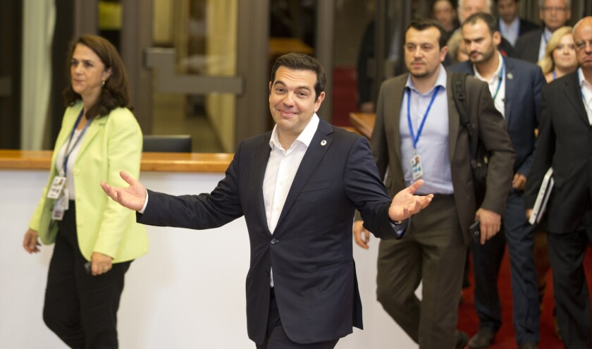 Greek Prime Minister Alexis Tsipras after an emergency summit of eurozone leaders in Brussels on Tuesday.