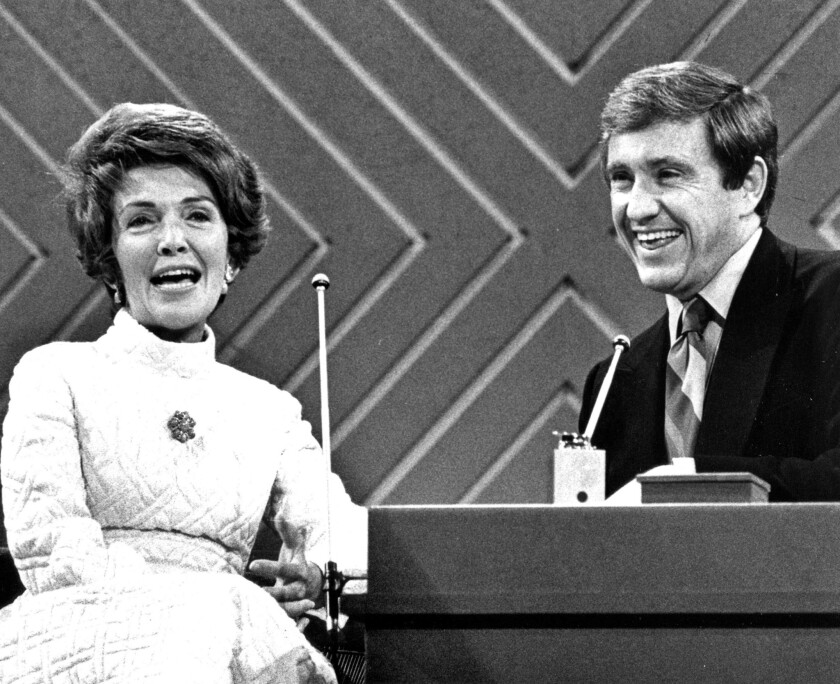 Nancy Reagan, then first lady of California, visits Merv Griffin on his show in 1971.