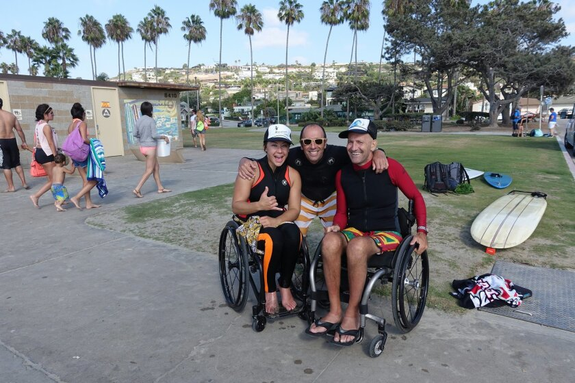Alana Nichols, ISA president Fernando Aguerre and Spike Kane, a UK competitor, at a test run in La Jolla Shores. Courtesy