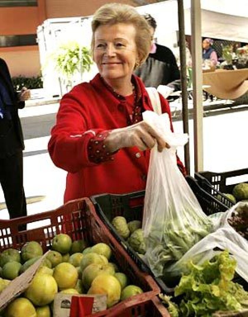 TRANSPLANT: Famed cooking instructor and author Anne Willan shops at a Santa Monica Farmers' Market recently.