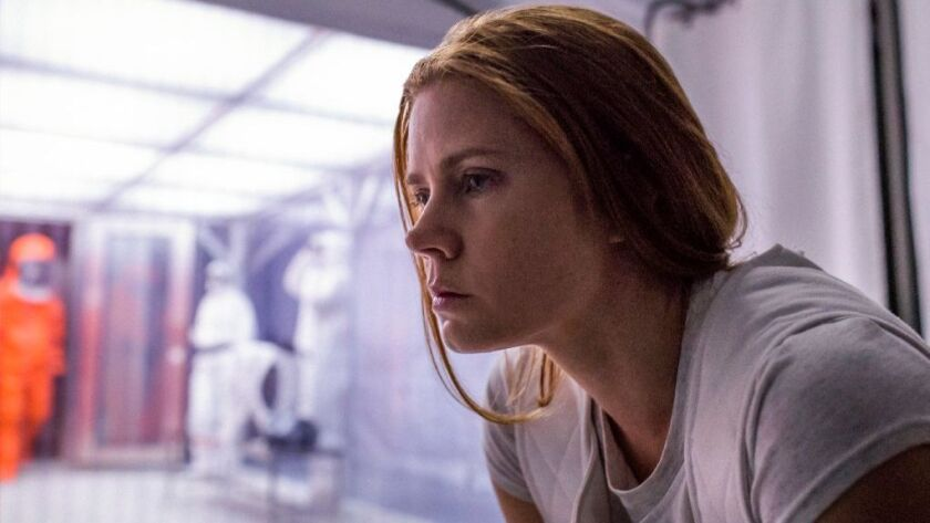 "This image released by Paramount Pictures shows Amy Adams in a scene from ""Arrival."""