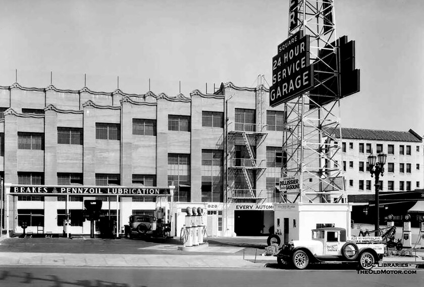 8th and Western. The historic garage was originally part of Pellissier Square, which included the Wiltern Theatre.