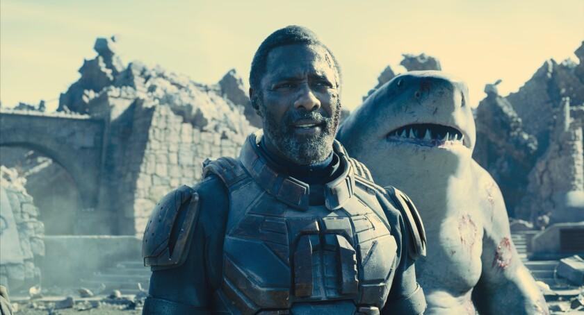 A man and an upright shark-man.