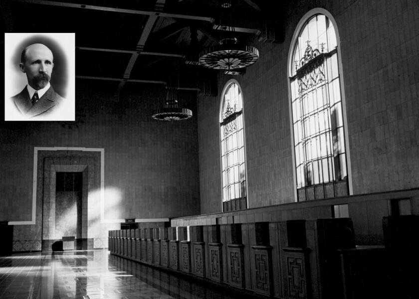 Union Station will celebrates its 75th anniversary on Saturday, shining a spotlight on John B. Parksinson, inset, its architect.