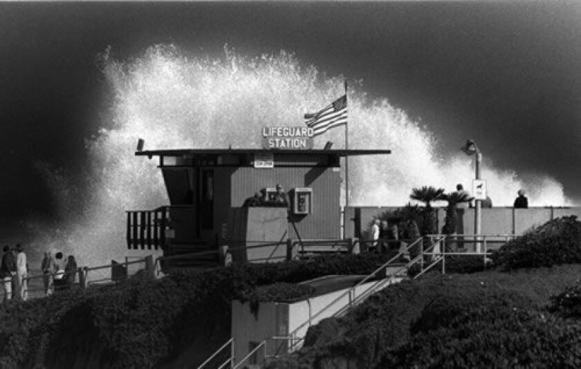 One of the earlier lifeguard towers, circa 1986, was built at Children's Pool for the site's commanding views to the north and south of the Pool. Courtesy of La Jolla Historical Society